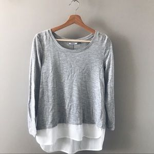 ONLY Grey/White Long-sleeve Blouse